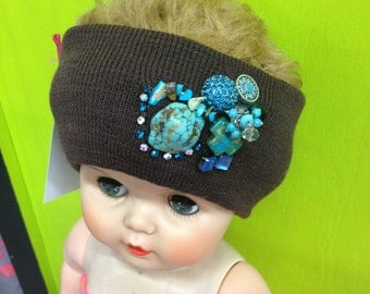 Brown & Turquoise Decorated/Embellished Knit Headband Stretch Ear Warmer with Rhinestones and Jewels