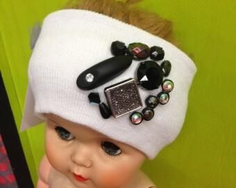 White Decorated/Embellished Knit Headband Stretch Ear Warmer with Dazzling Black Rhinestones & Jewels