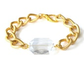 Larissa Arm Candy Crystal Clear Plastic Gem Bracelet - Chunky Textured Gold Curb Chain Bracelet - Jewel Arm Candy Chunky Chain Bracelet