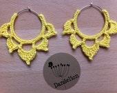 RESERVED - Crochet lotus earrings (primrose yellow)