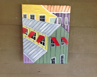 Hand Painted Original Painting On 11x14 Canvas, Key West Conch house collage