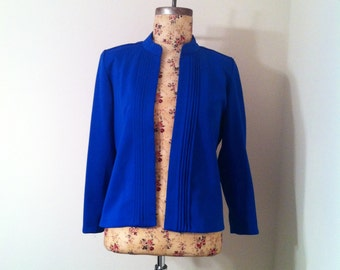 Vintage 80s Bright Blue Cobalt Polyester High Collar Jacket Size 10P