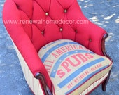 """Custom Order - Vintage upholstered accent chair """"Samantha's All American Chair"""" - SOLD"""