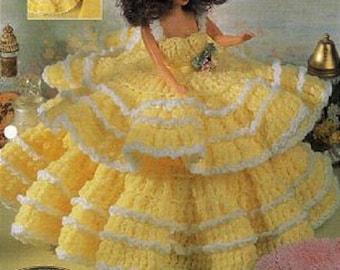 Crochet Barbie Fashion Doll Pattern FANCY FRILLS Trinket Box Gown & Hat