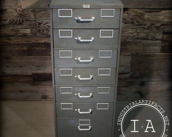 Vintage Industrial Superflier Steel Filing Parts Cabinet Organizer FREE SHIPPING