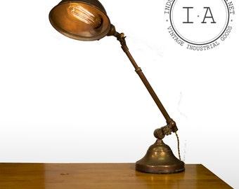 Vintage Industrial Telescoping Arm OC White Desk Lamp Rare Clamping Disc