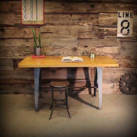 Vintage Industrial Work Bench Table Desk Cast Iron Machine