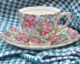 Chintz China Small Teacup and Saucer by Rosina Bone China
