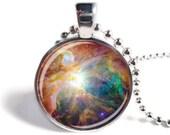 Nebula Pendant, Astronomy Necklace, Space Pendant, Astronomy Jewelry, Glass Art Pendant, Space Necklace or Keychain