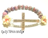 Hawaiian Flower Beaded Bracelet, Cross Bracelet, Colorful, Stretchy, Handmade, Custom, Beaded Jewelry, Mothers Day Gift