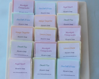 50 Soap Samples - 1 oz Favors - Glycerin Soaps - Hostess Gift - Childrens or Guest Soaps - Party Favors