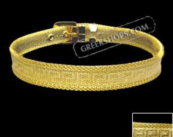 Gold Overlay Greek Key Adjustable Bracelet