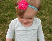 Pink Flower Turquoise Headband