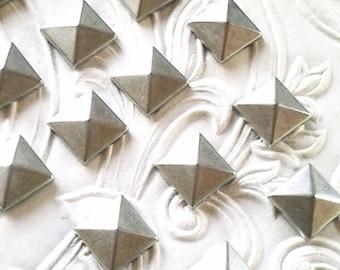 "Silver Square Pyramid Studs 10mm (approx. 3/8"") Metal Korean Quality Hot Fix (HotFix) Iron On or Glue on Flat Back Studs/ 100 pcs."