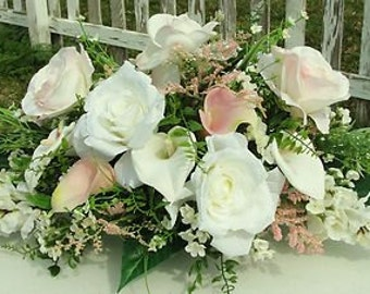 Pink an White Centerpiece Silk Flowers Calla Lilies Roses Wedding Table Receptions Dining Room Make Over Bedroom Floral Custom Color Welcome