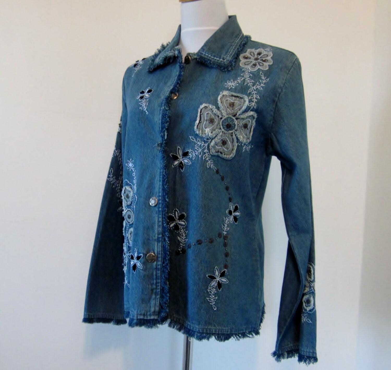 Vintage fringed denim jacket embroidered by groovygirlgarb
