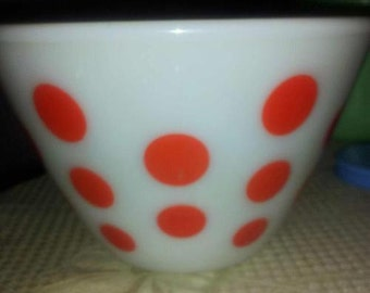"""Vintage Fire King Ivory Red Dot Mixing Bowl - 9.5"""""""