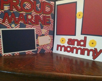Proud Marine And Mommy 12 x 12 Pre Made Double Page Layout