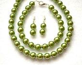 Olive Green Pearl Jewelry Bridal Set 3pc