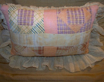 Vintage French Farmhouse Decorative Accessory Throw Pillow Made From A Re-Purposed 100 Year Old Quilt-Feather Down Insert,Non-Removable