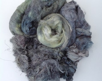 Pick and Mix, Hand Dyed Silk Fibre Selection, Colour No. 56 Pebble, Silk Tops, Laps, Throwsters Waste, Cocoons, Carrier Rods, Hankies