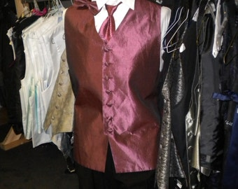 mens vintage vest dark rose with tie