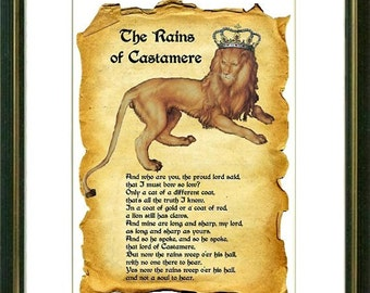 THE RAINS of CASTAMERE - Game of Thrones - Wall art print - Poster - Quote art print -  Writers quotes - Art Print