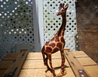 Kenya Hand Carved Wooden Giraffe
