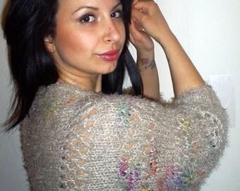 Knitted bolero,  knitted  sleeves,knitted ladies bolero,  bright colors,  girl bolero  ,knit jacket summer