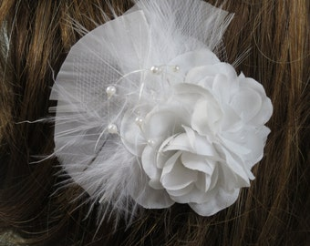 White Bridal Flower Clip  Wedding Hair Flower  Wedding Accessory Feathers Pearls