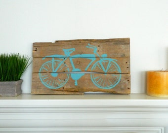 Hand Painted Vintage Bicycle On Reclaimed Wood