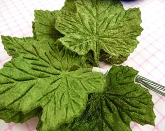 Vintage Velvet Leaves Green Maple Grape Millinery Bunch of 12 NOS for Crafts Hats Scrapbook 7LS0006G