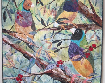 Gouldians -  Art Quilt - Quilt - Bird - Birds - Branches - Tree - Leaves - Textile - Art - Wall Hanging