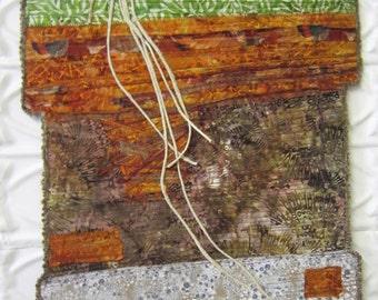 Erosion -Art Quilt - Quilt - Original - Handmade - Abstract - Brown - Green - Fiber Art - Wall Hanging - Art