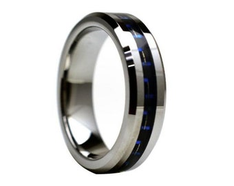 Tungsten Wedding Band,6mm,Tungsten Wedding Ring,Beveled Edges,Anniversary Ring,Handmade,Comfort Fit,His,Hers,Carbon Fiber Ring,Carbon Fiber