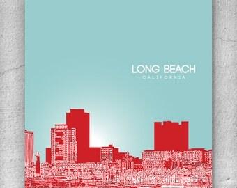 Urban Loft Modern Art Poster / Long Beach CA Skyline Art Poster / Any City or Landmark