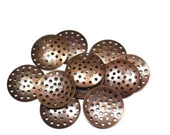 50 Pcs Copper Plated Perforated Beading Disc  25  mm Connectors