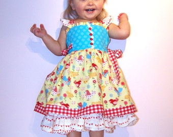 "SALE..Buy 2 get 1 free..""Cindy Lou""....Flutter Strap Girl's Reverse Knot Dress Side Tie Instant Download PDF Sewing Pattern, 6-12 M to 8"