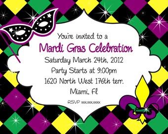 Mardi Gras Invitation Party Printable Invitation