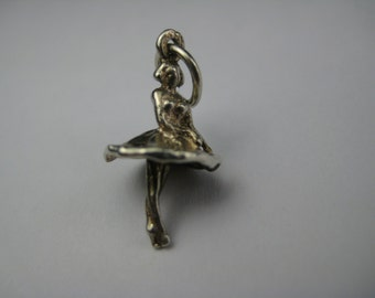 Vintage English Sterling Ballerina Ballet Dancer Charm Bracelet Pendant Jewelry