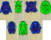1 dz Hard Candy Star Wars Shaped Lollipop Party Favors w/ Personalized Back Labels