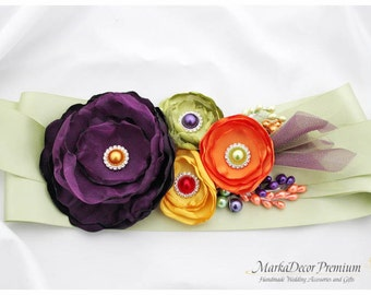 Bridal Custom Sash / Autumn Country Bridesmaids Wedding Belt in Purple Green and Yellow with Brooches, Beads, Pearls, Crystals, Jewels