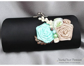 Bridal Wedding Clutch Flower Handmade Brooch Bridesmaids Purse with Handmade Flowers, Crystals, Pearls in Black, Champagne Aqua Mint, Ivory
