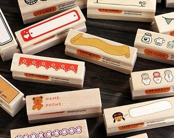 20 pcs Lace Stamp Set -- Wooden Rubber Stamp -- Diary Stamps