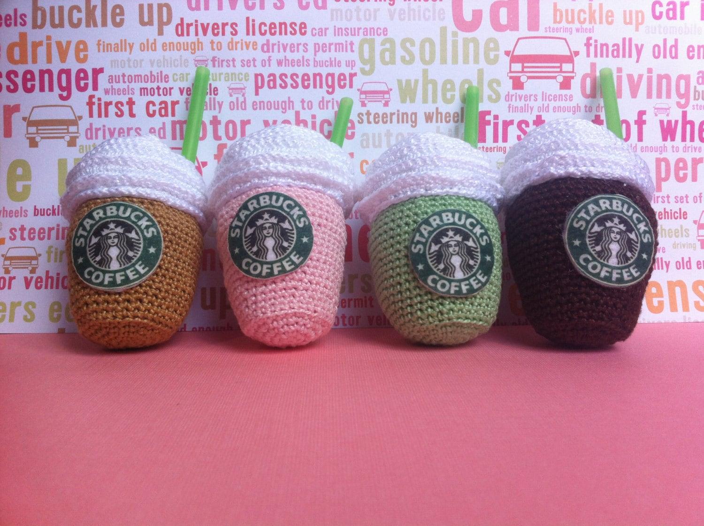 Amigurumi Starbucks : Mini Starbucks coffe and milkshake amigurumi