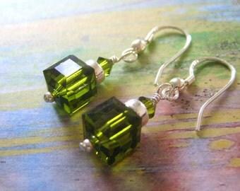 Olive Green Swarovski Earrings, Bridesmaid Gifts
