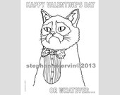 pdf colouring book single page grumpy cat valentines day cat adult funny diy digital file printable