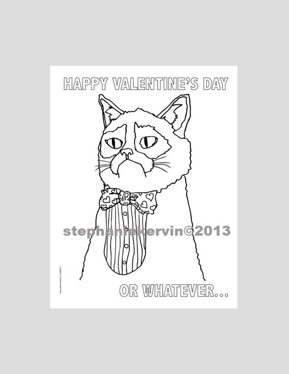 This is a picture of Smart Grumpy Cat Coloring Page