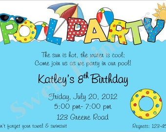 Pool Party Invitation Summer Party Invitation Pool Party