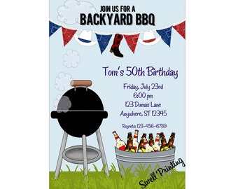 Backyard Cookout Party Invitation BBQ Birthday Invitation Cookout Invitation Summer Cookout Party